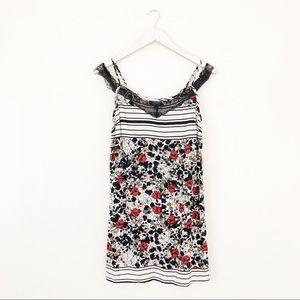 TOPSHOP Floral Stripe Lace Cold Shoulder Dress